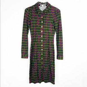 Boden Green sleeves midi dress retro print size 2